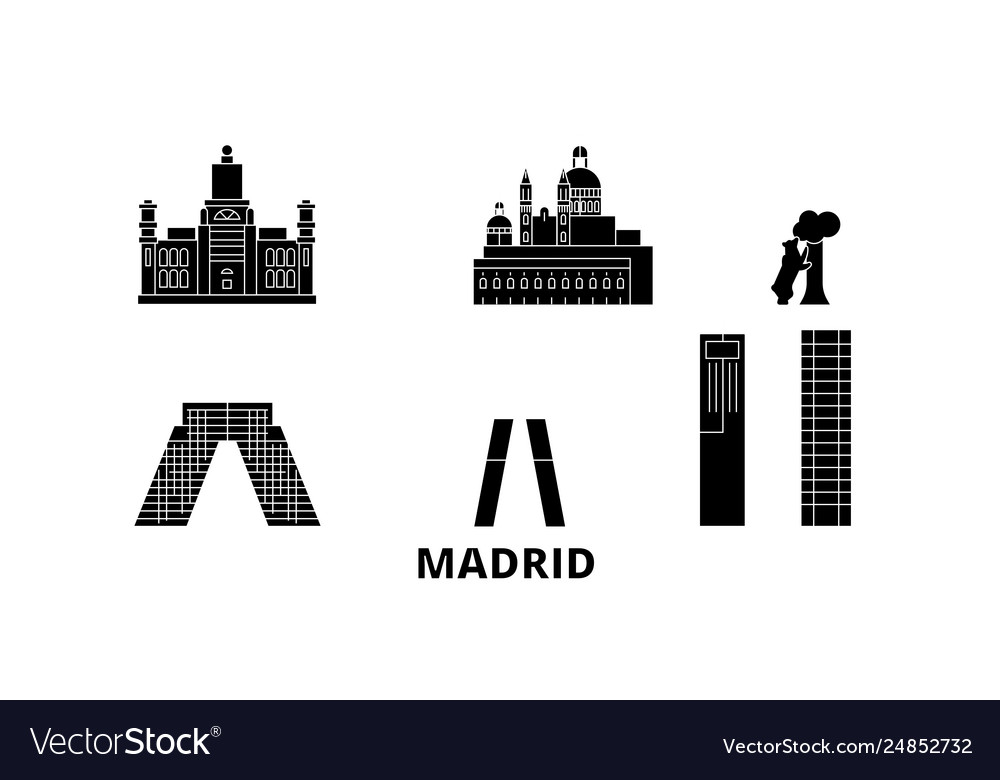 Spain madrid city flat travel skyline set spain