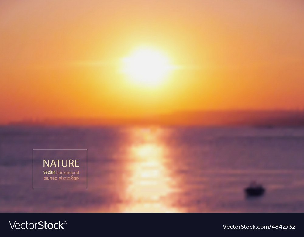 Sunset blurred photo background vector image