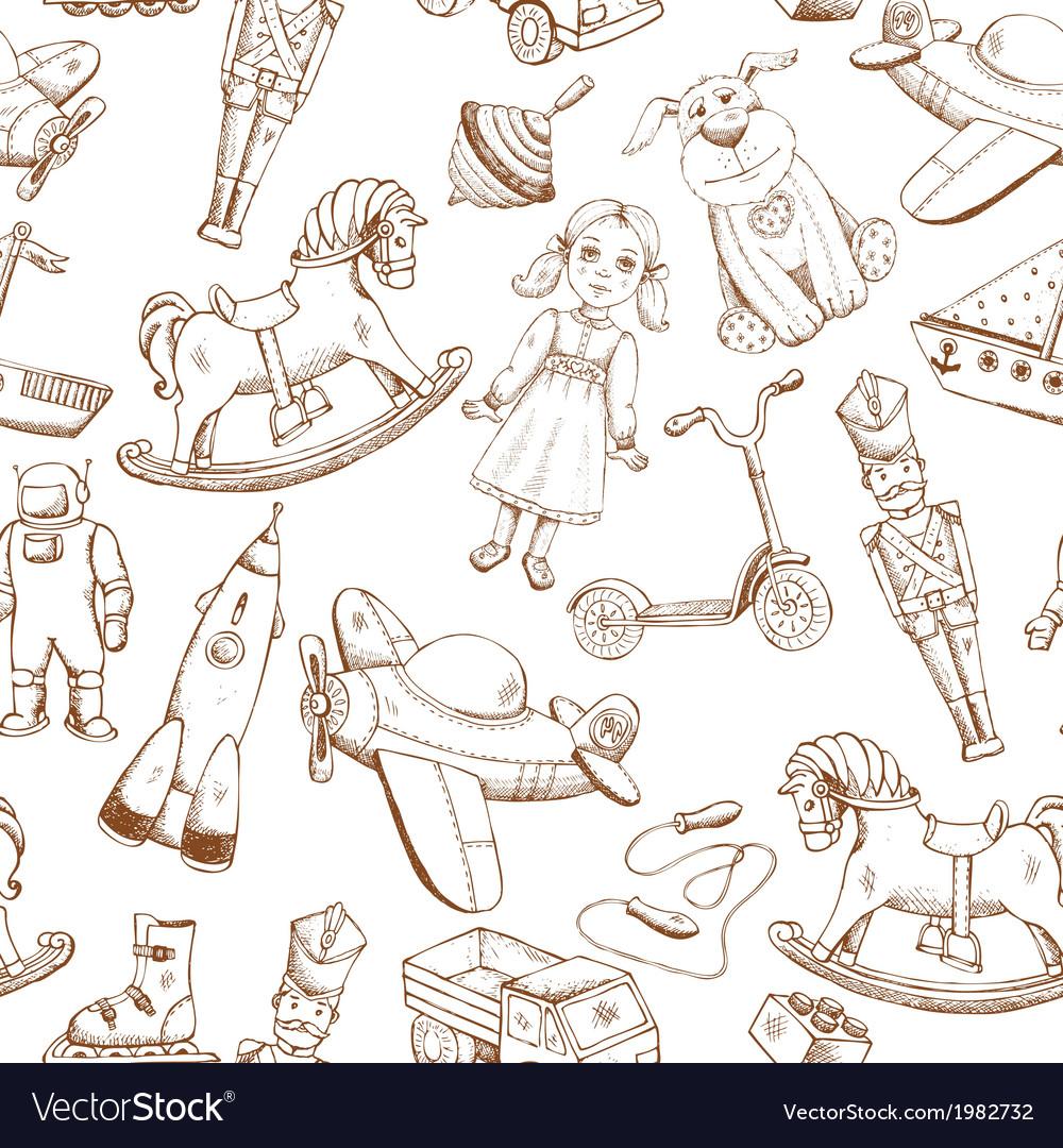 Vintage hand drawn toys pattern