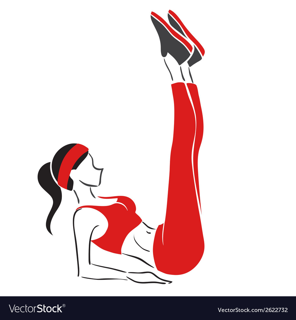 Woman practises fitness - symbolical emblem vector image