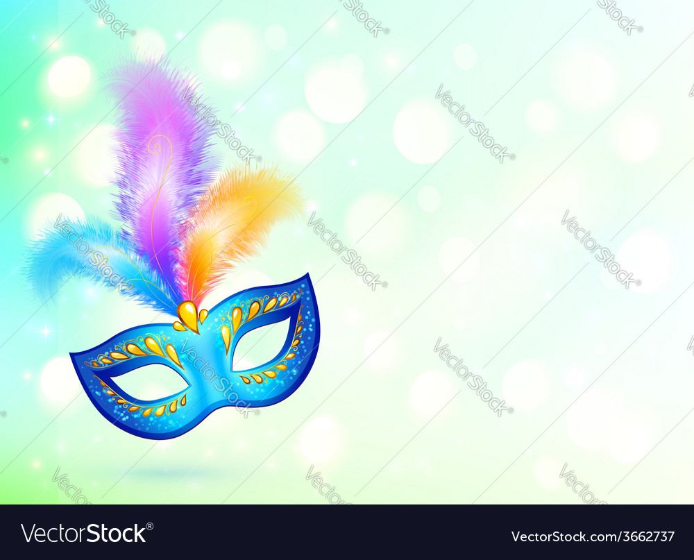 Blue carnival mask with colorful feathers banner