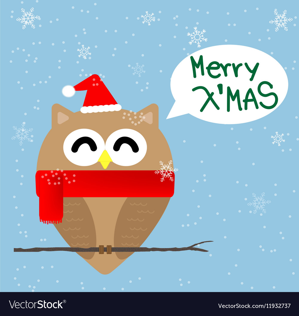 Christmas owl cartoon vector image