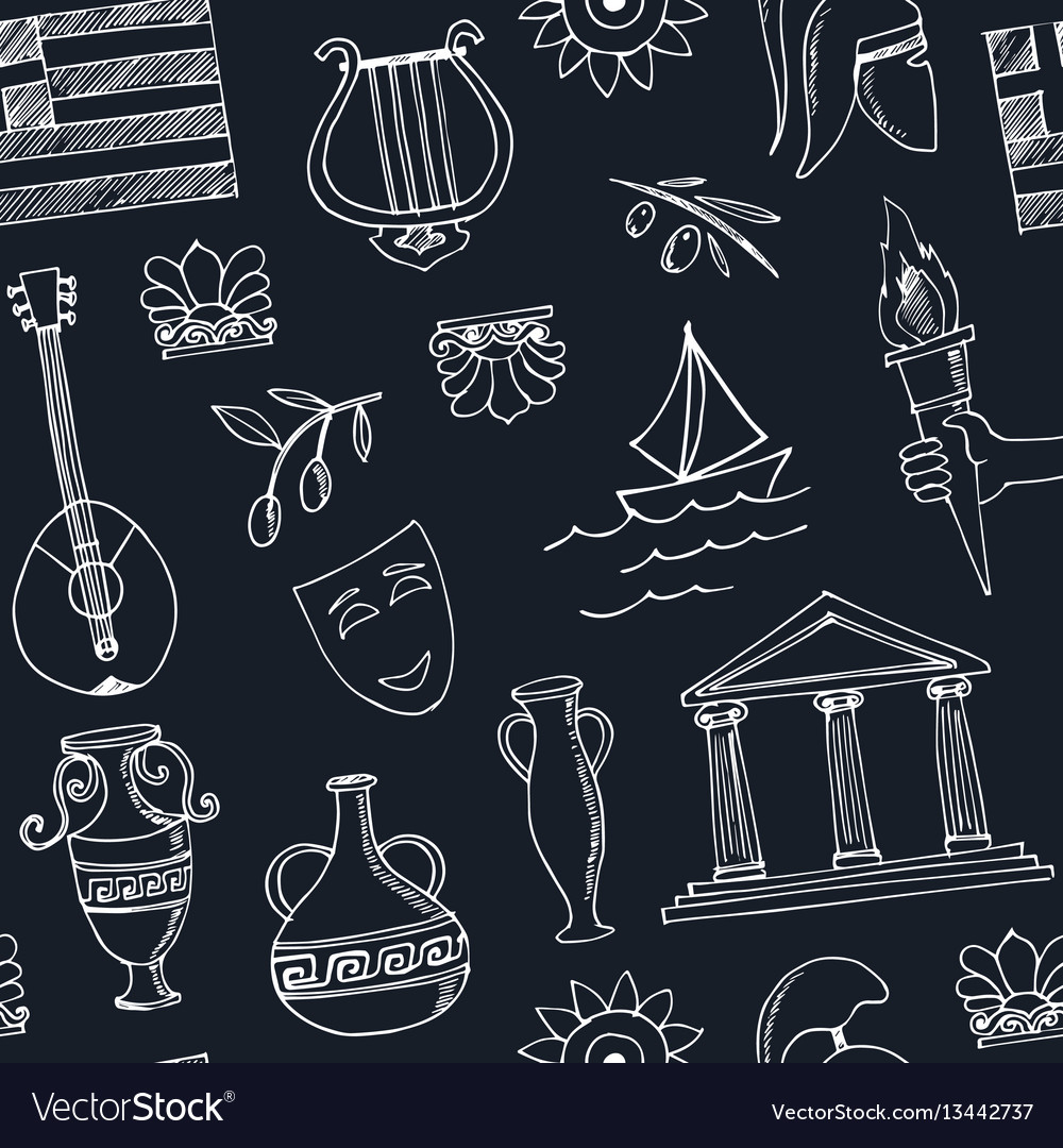 Hand drawn greece travel seamless pattern