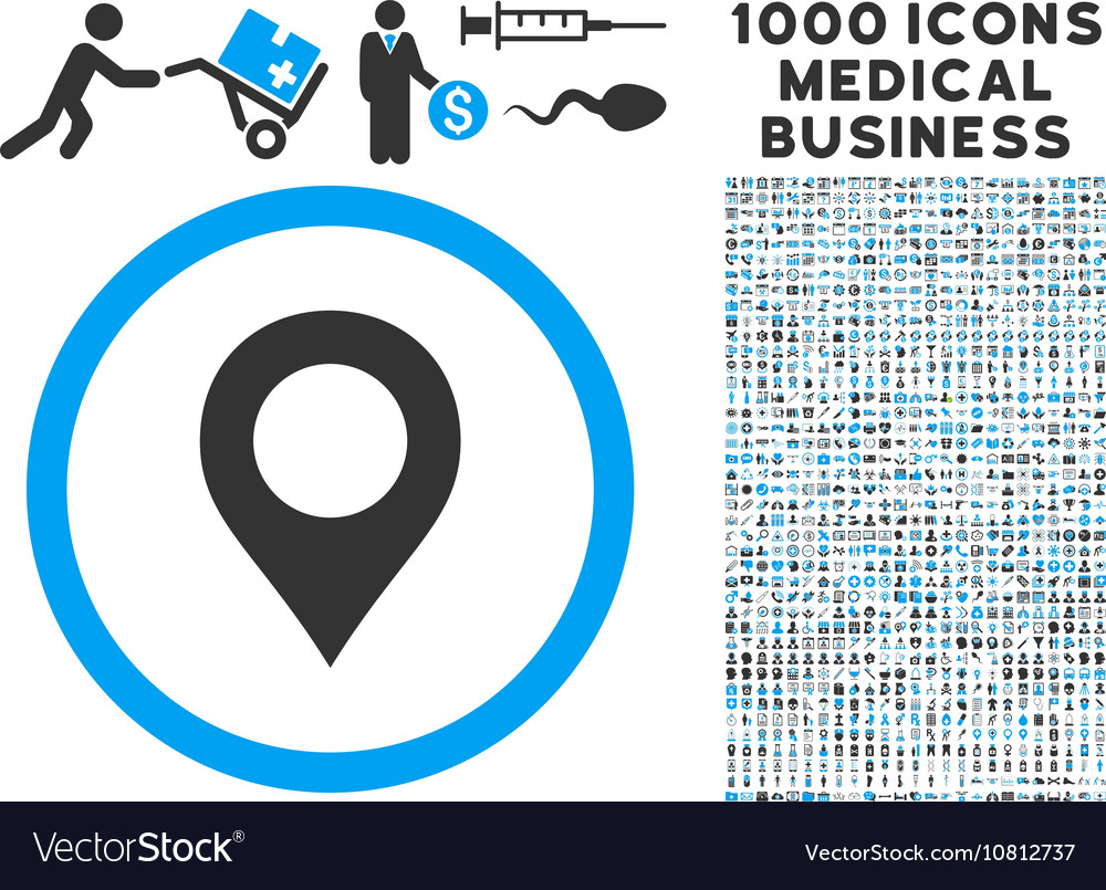 Map Marker Icon with 1000 Medical Business Symbols
