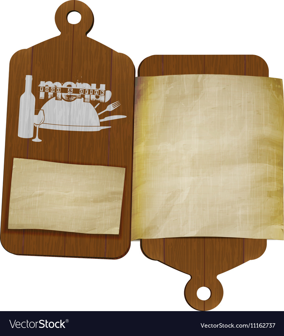 Restaurant menu template cutting boards and old
