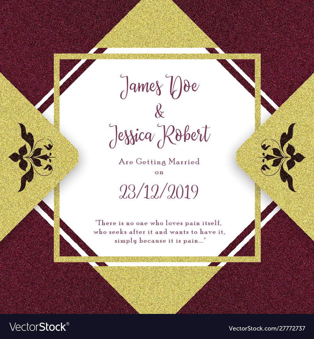 Royal wedding invitation card template Royalty Free Vector