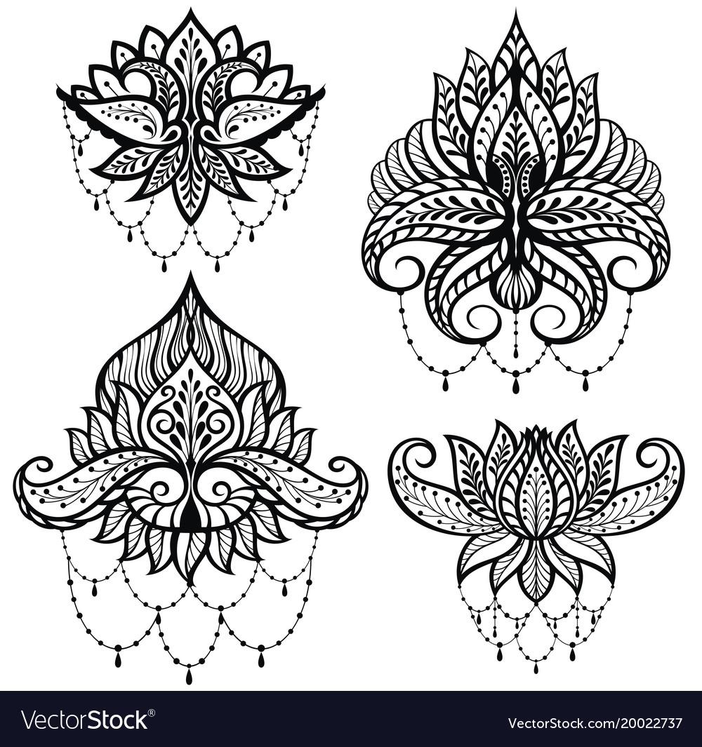 Set Ornamental Lotus Flowers Royalty Free Vector Image
