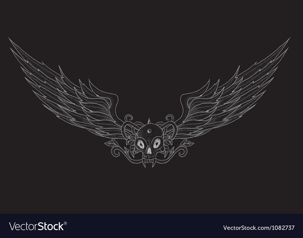 Skull with wings black