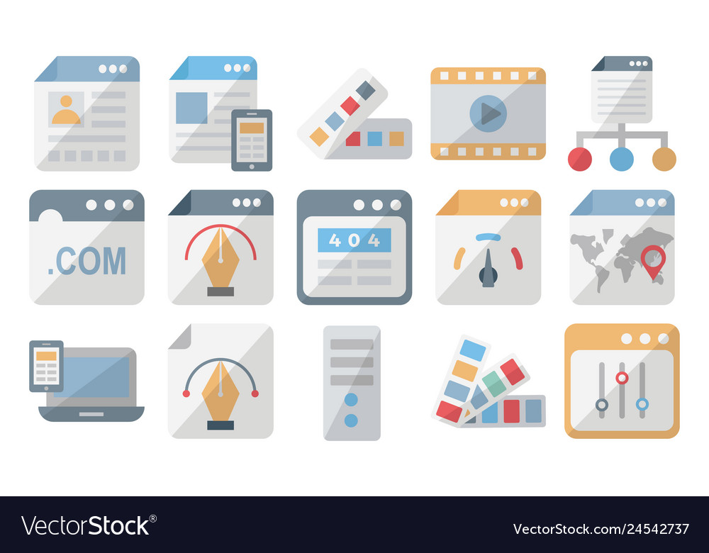 Web design and development isolated icons