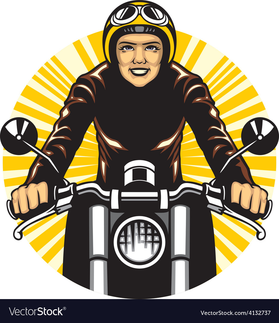 Woman ride a motorcycle