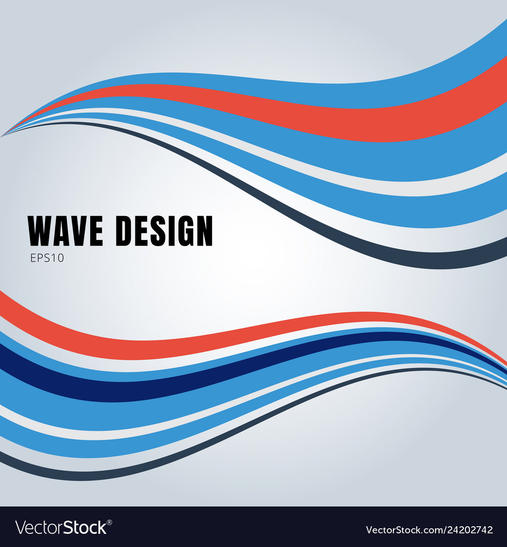Abstract blue and red color smooth waves design