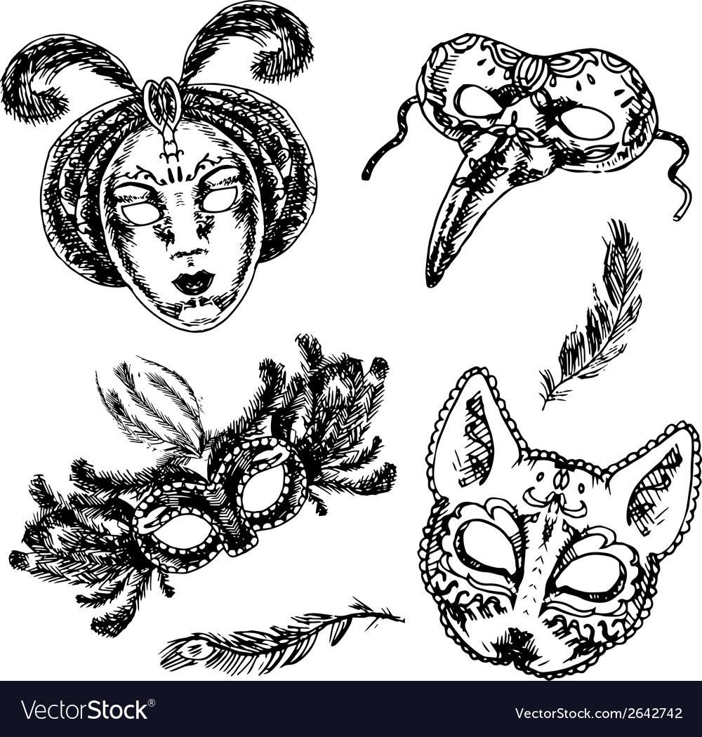 Carnival mask icon sketch set