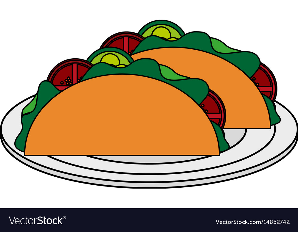 color image cartoon tacos on plate mexican food in rh vectorstock com mexican food cartoon pics Cute Cartoon Mexican Food