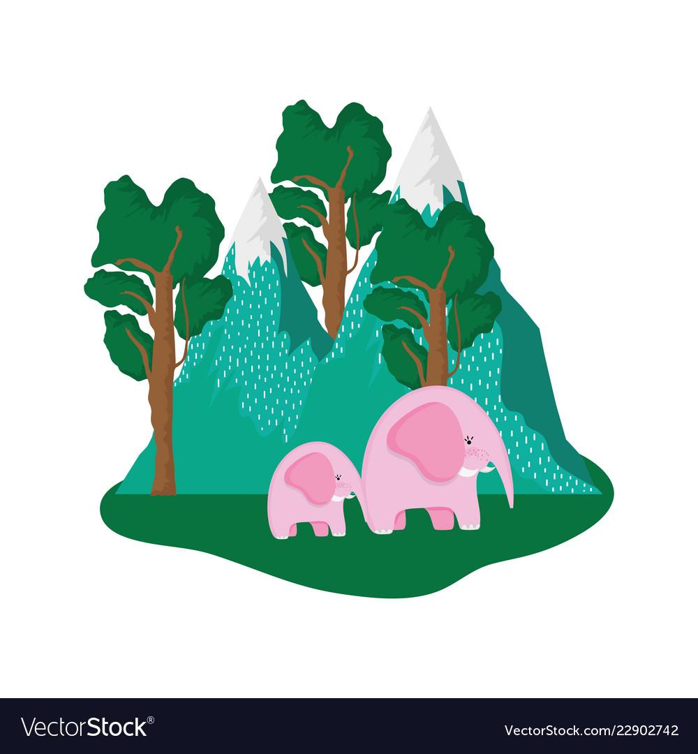 Cute elephants pink couple in the landscape