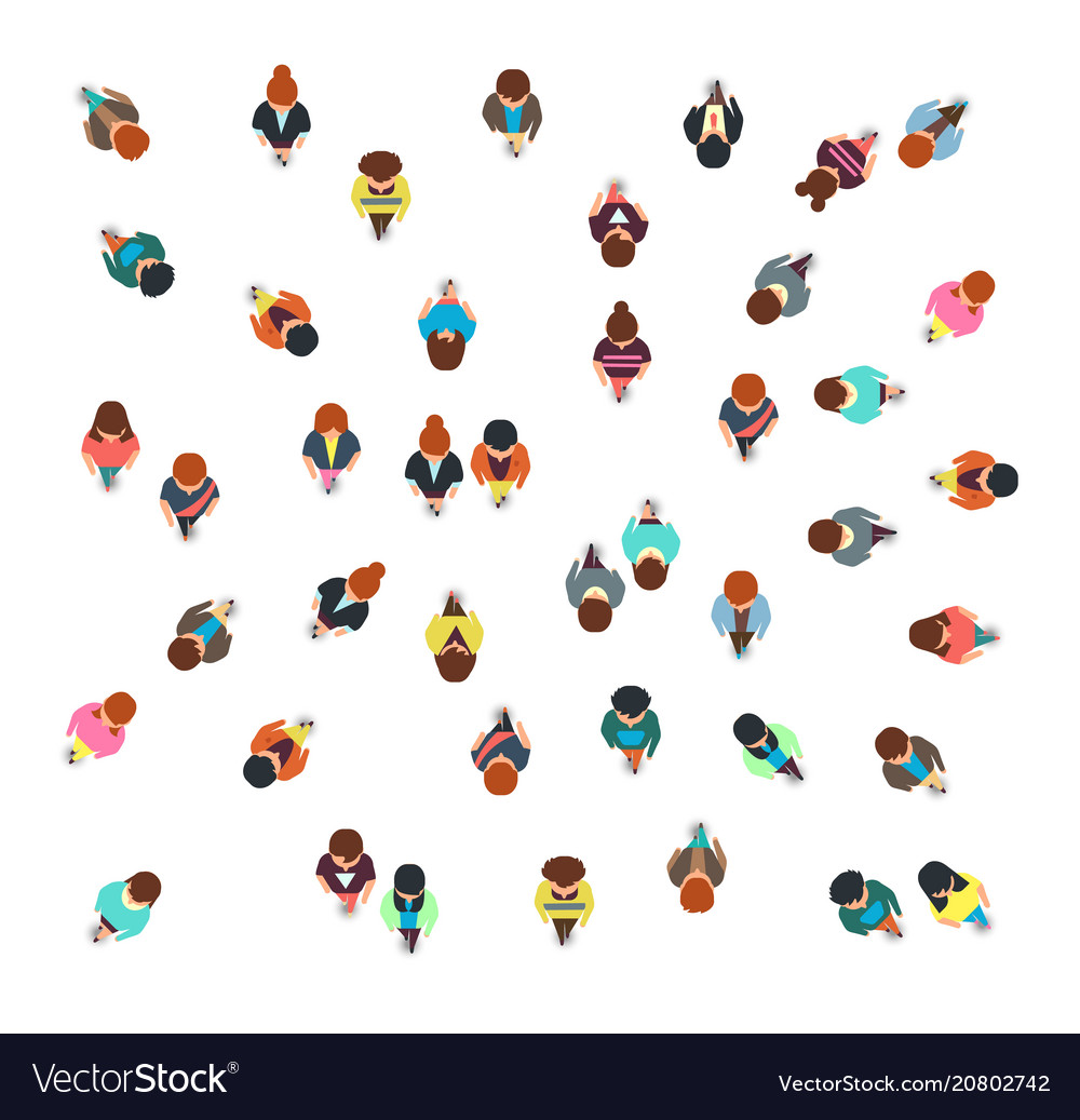Gathering people group top view walking men and vector image