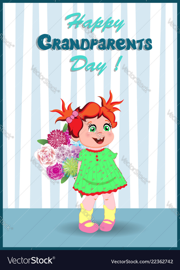 Grandparents day greeting card with cute little vector image m4hsunfo