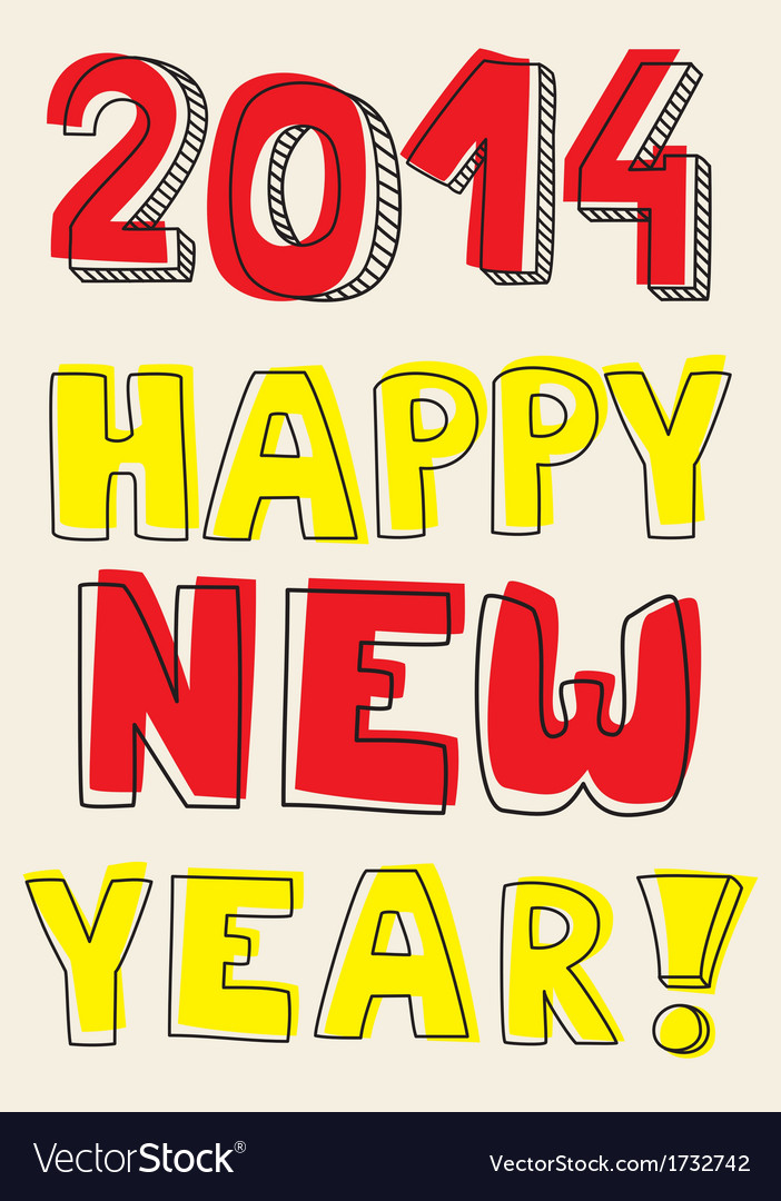 Happy New Year 2014 hand drawn colorful wishes