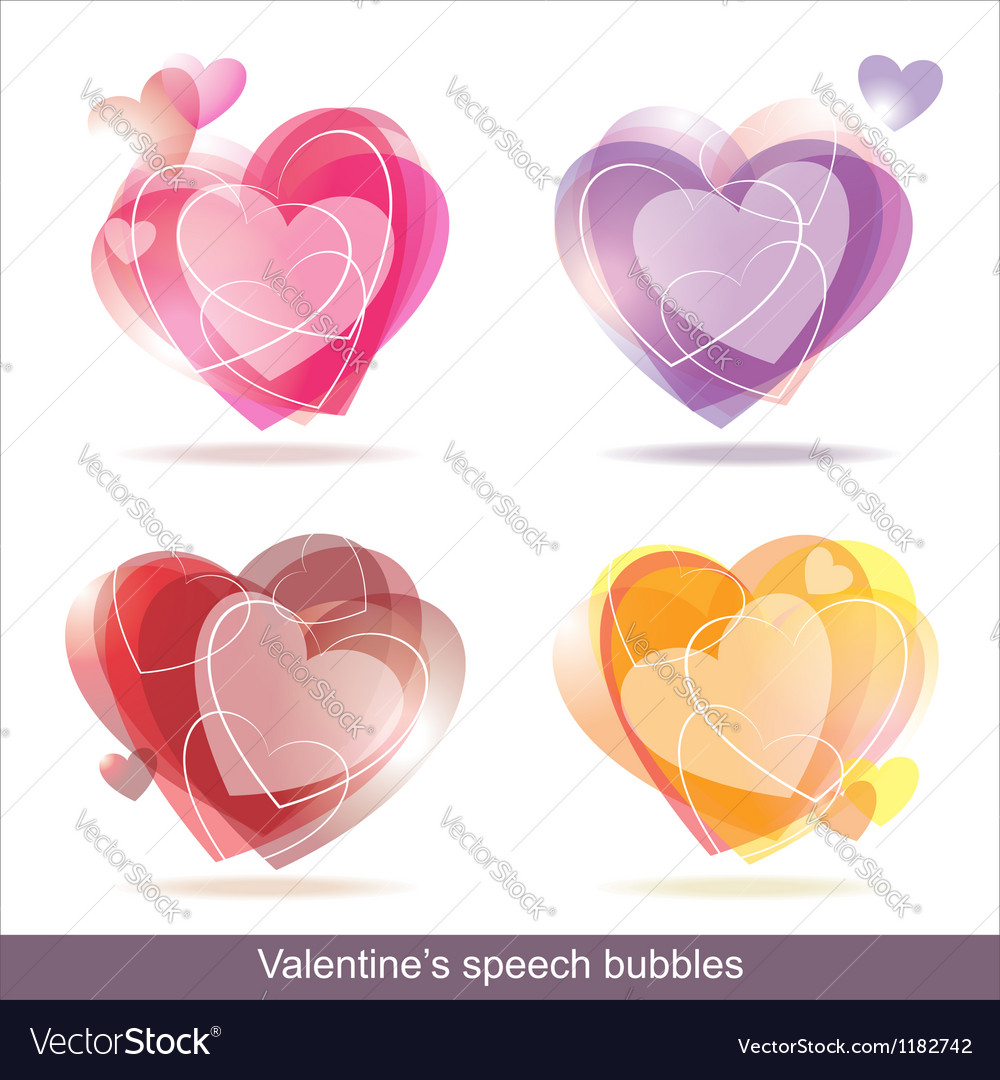 Hearts speech bubbles vector image
