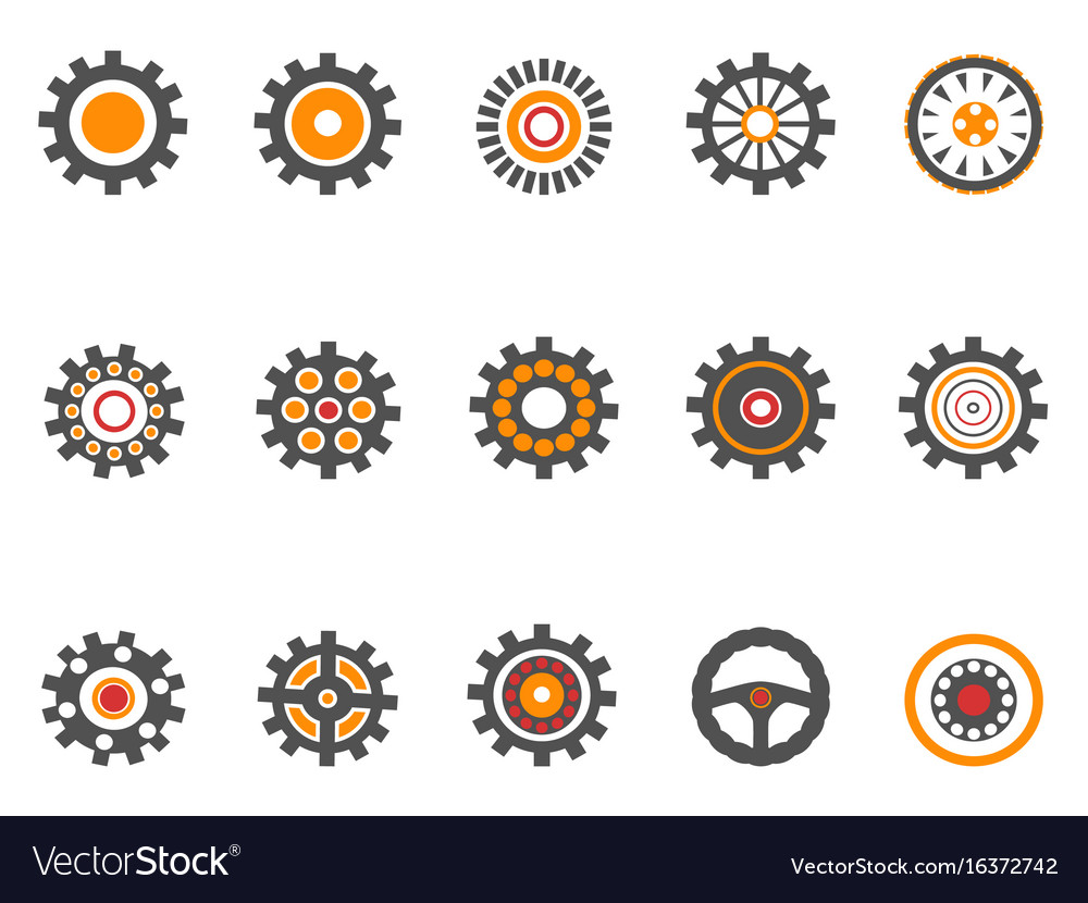 Orange gear and cog icons vector image