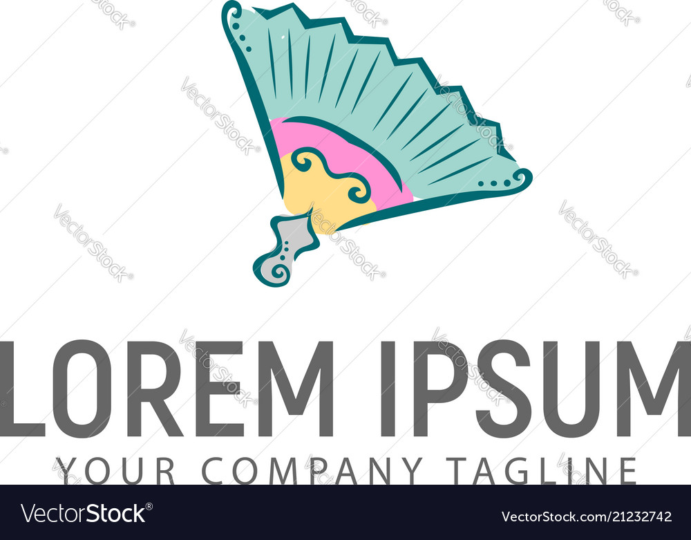 Paper fan hand drawn logo design concept template