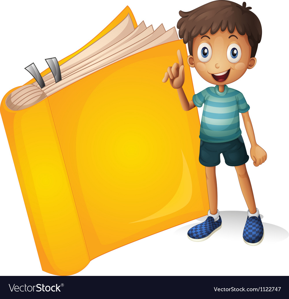 A smiling boy and a yellow book