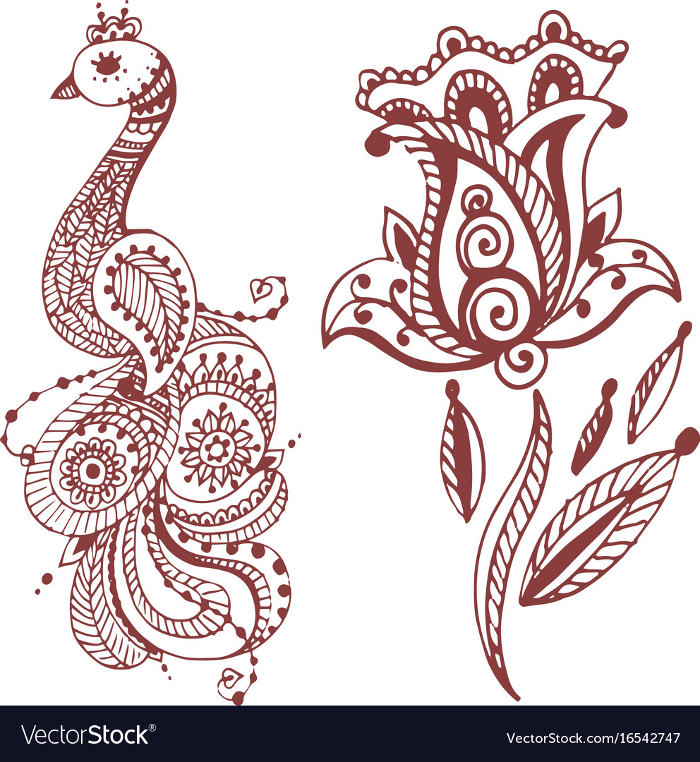 Henna Tattoo Brown Mehndi Flower Doodle Ornamental