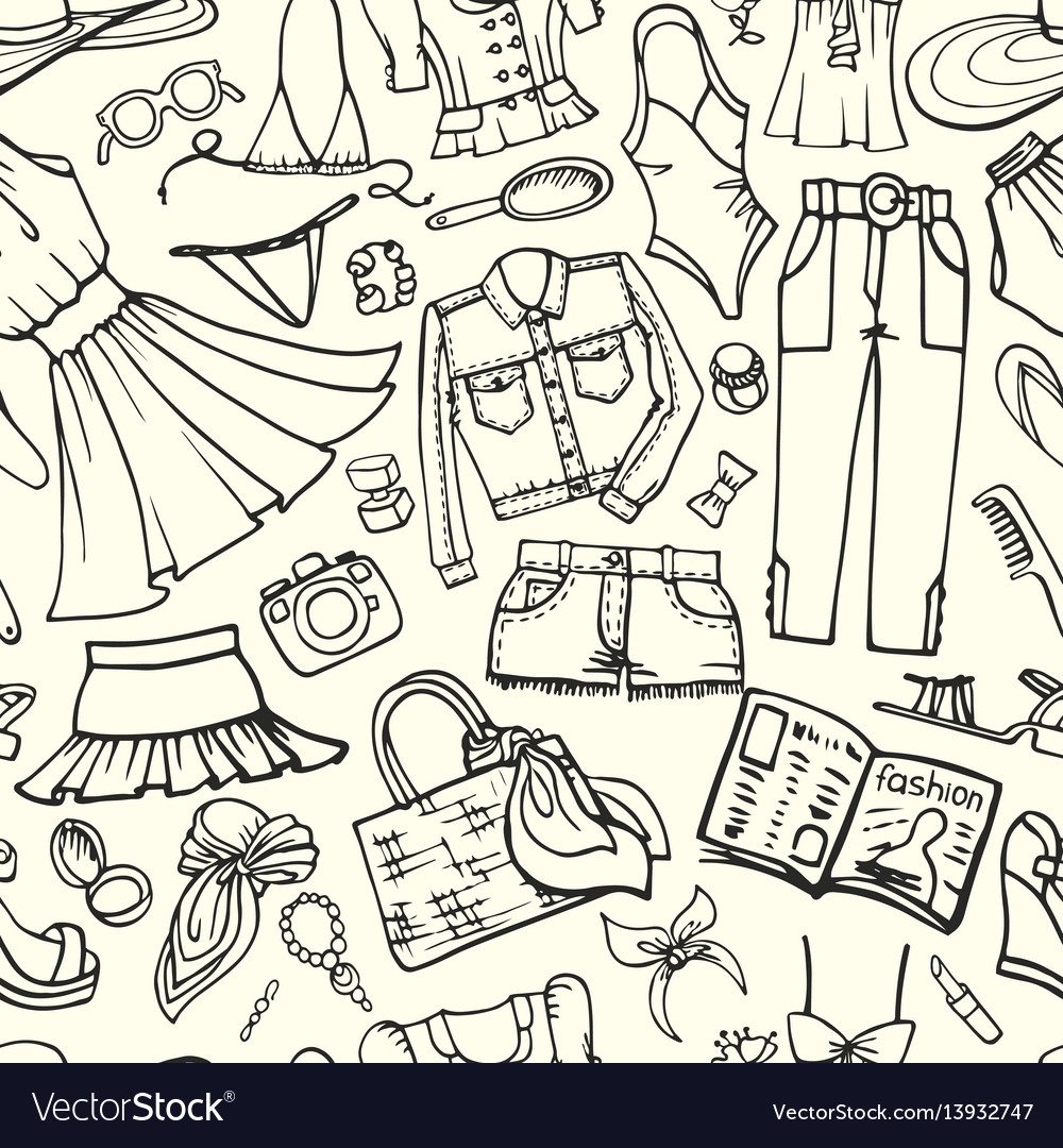 Summer fashion seamless patternwoman outline wear