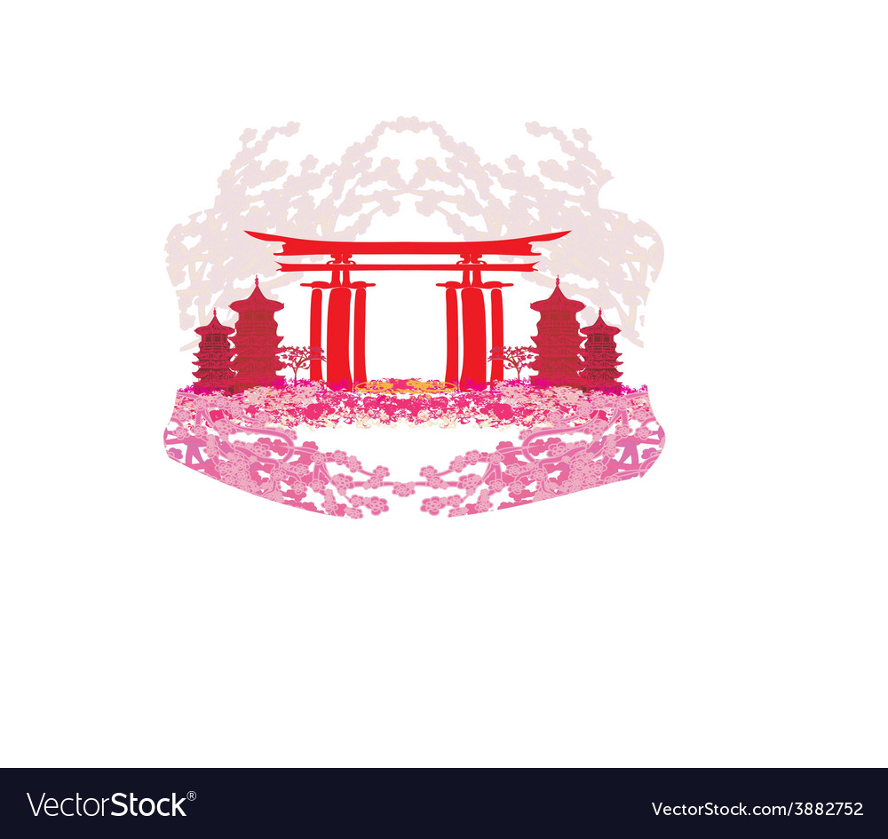 Abstract card with Asian buildings and cherry