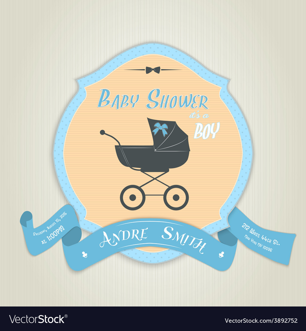 Baby shower invitation with flat baby carriage vector image