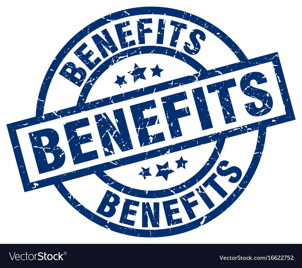 Benefits blue round grunge stamp