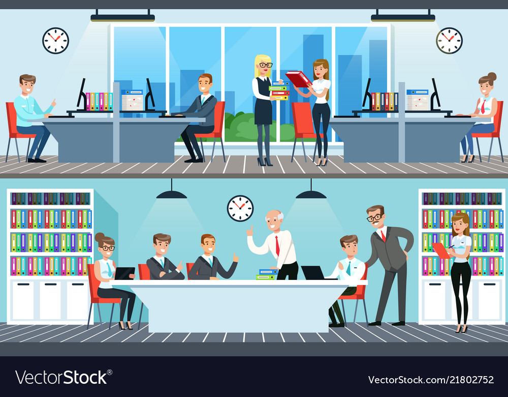 Business people working in office set men and