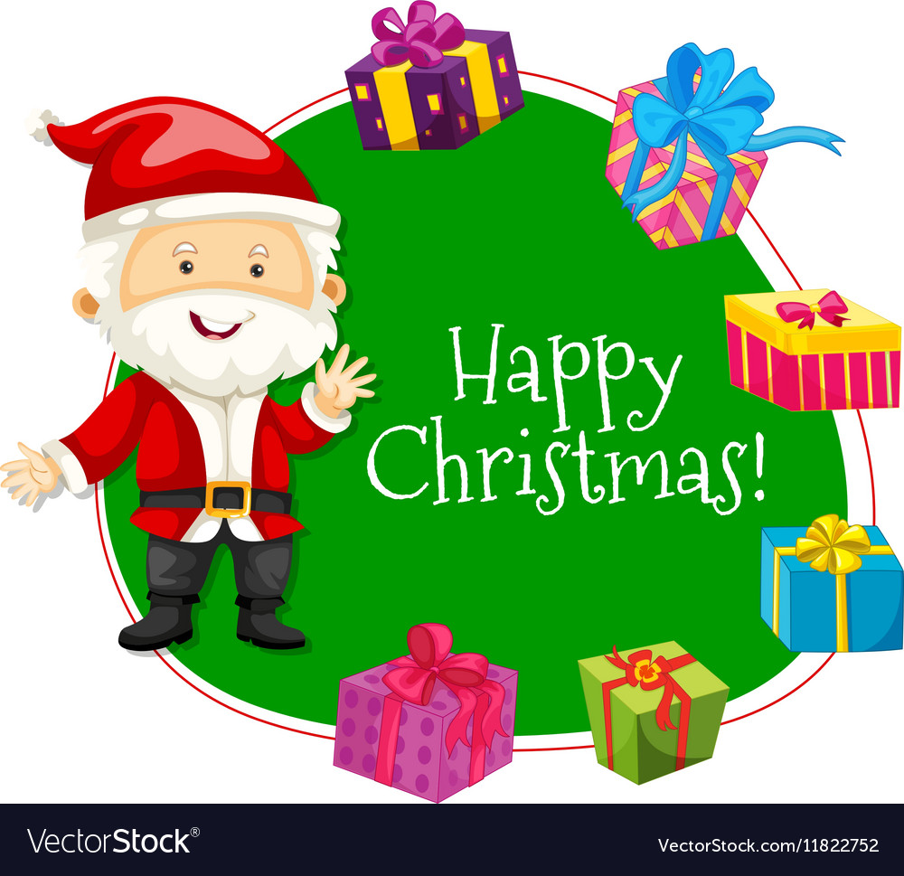 christmas card template with santa and presents vector image