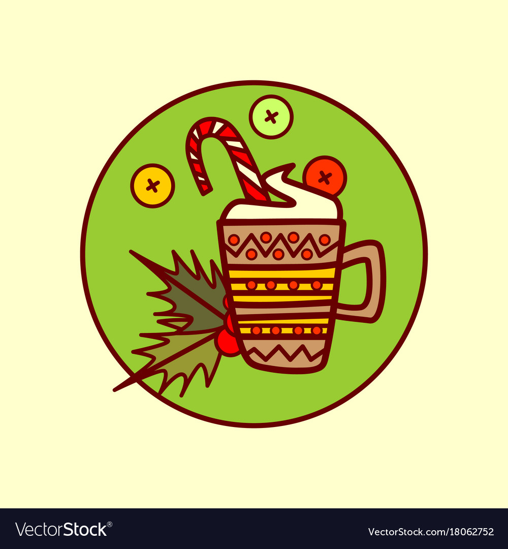 Cocoa cup icon merry christmas and happy new year