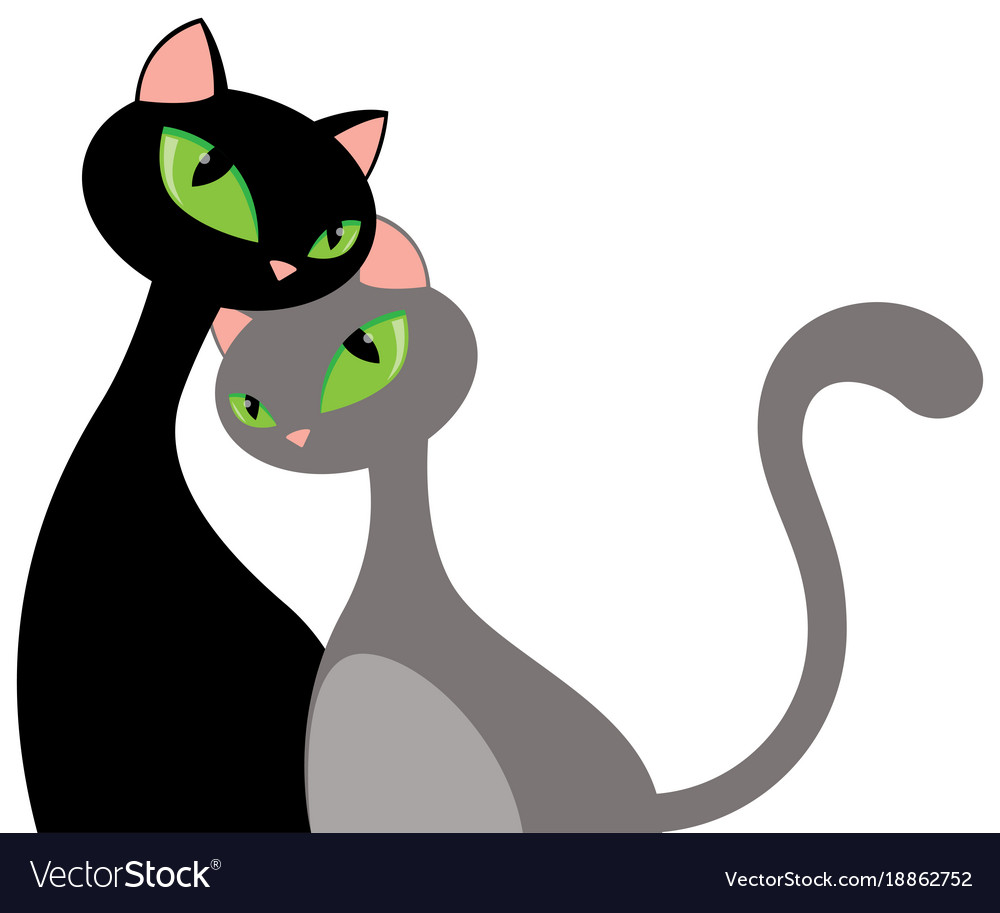 Elongated cat couple hug valentines day card vector image