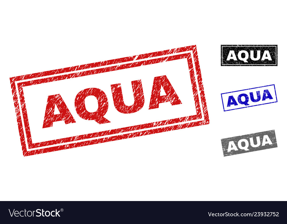Grunge aqua scratched rectangle watermarks