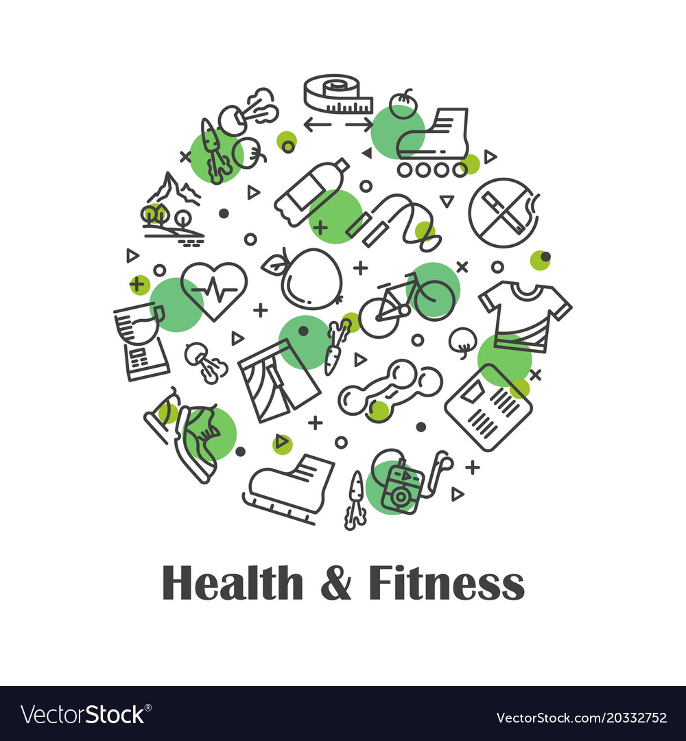 Health and fitness fresh food outline icons