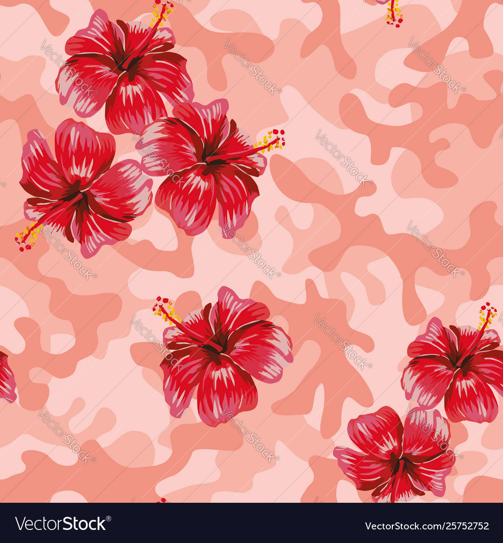 Hibiscus pink camo background Royalty