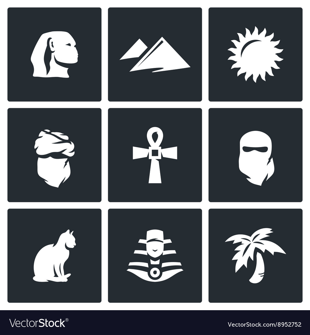 Set of Egypt Icons Sphinx Dune Sun vector image