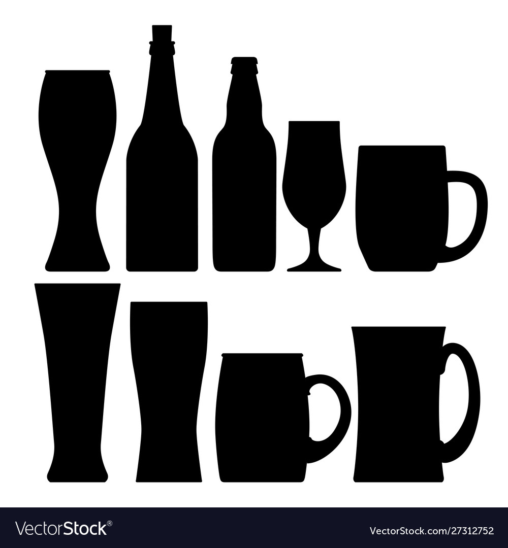 Set various beer bottles mugs and glases
