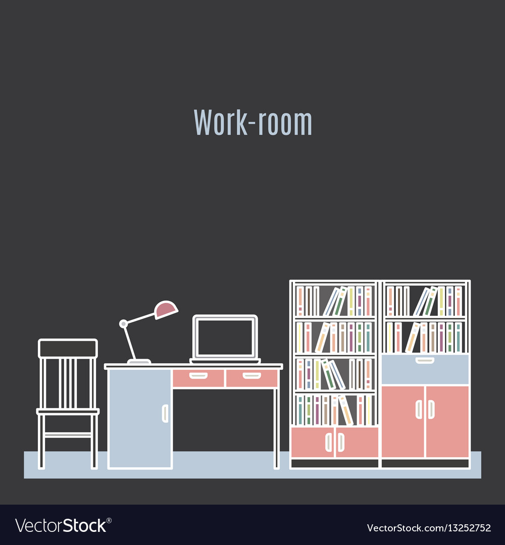 Work room interior design vector image