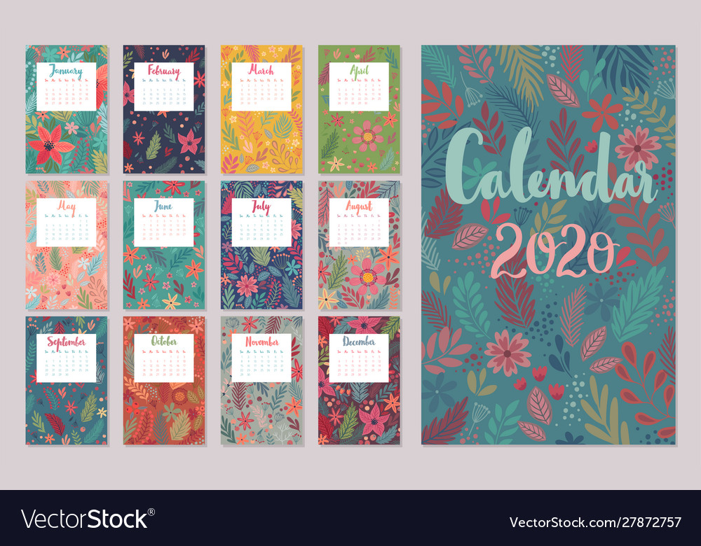 Calendar 2020 monthly calendar with floral
