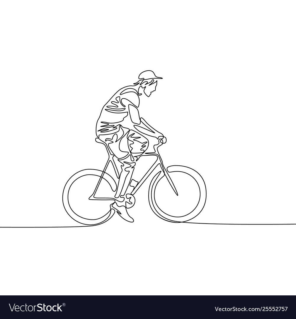 Continuous one line drawing man in a cap riding a