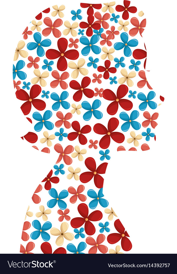 Cute woman silhouette with flowers vector image