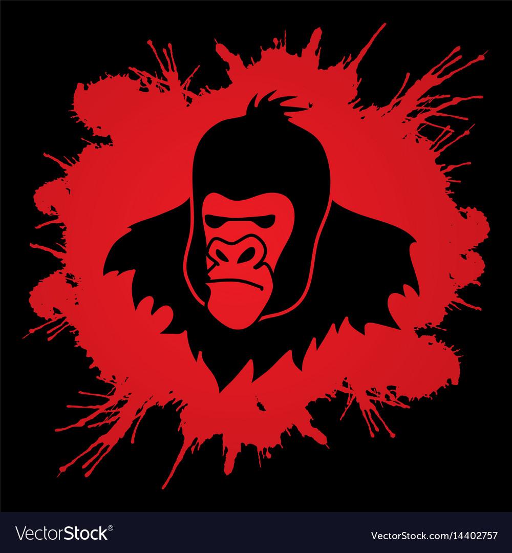 Gorilla head king kong face angry big monkey
