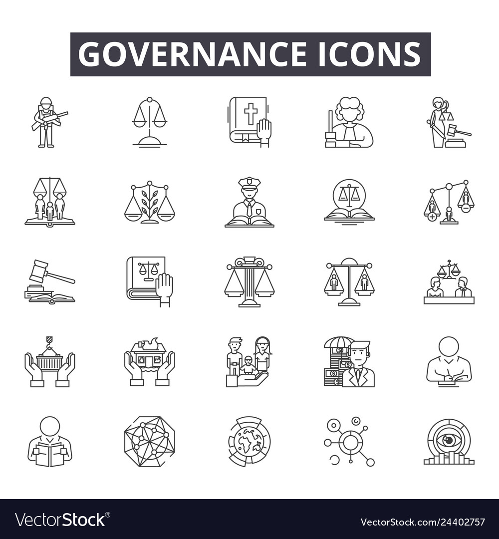 Governance line icons for web and mobile design