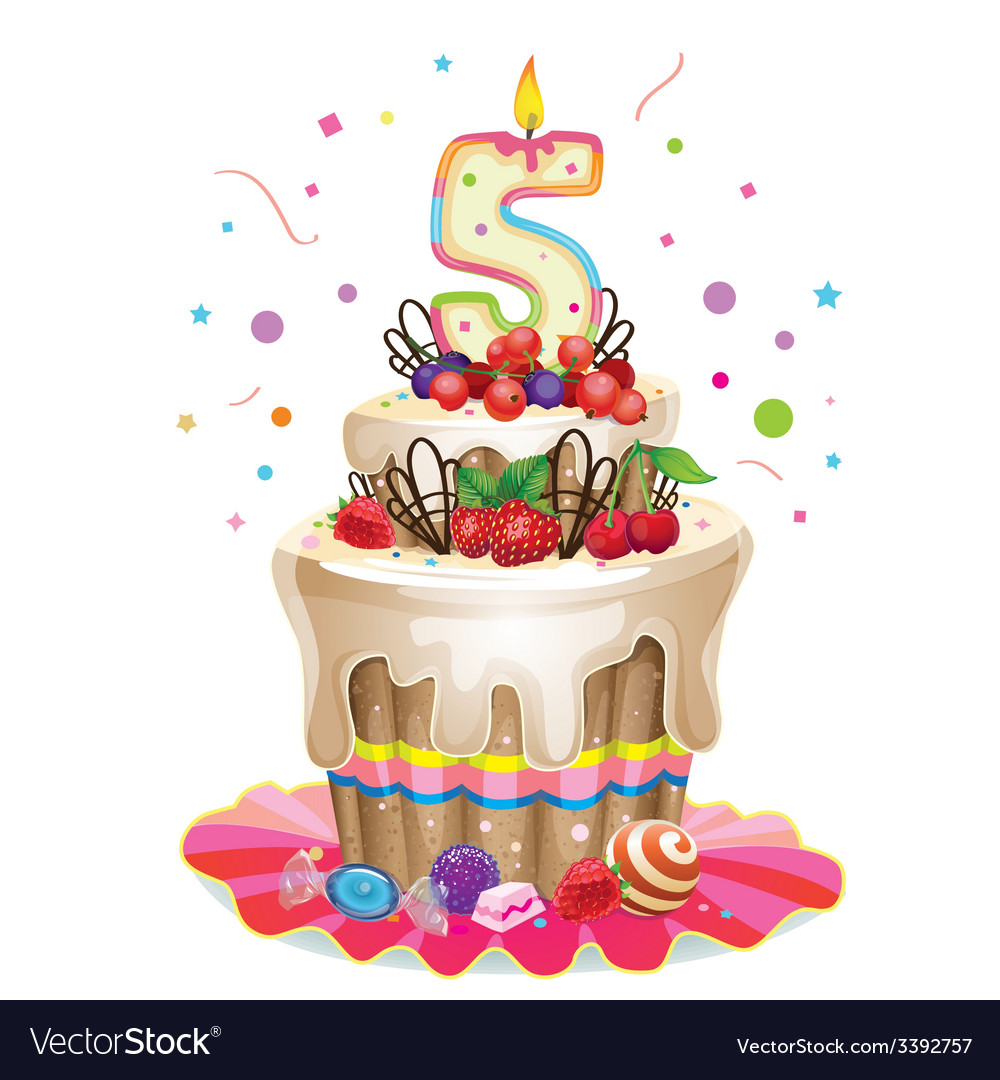 Happy Birthday cake 5 Royalty Free Vector Image