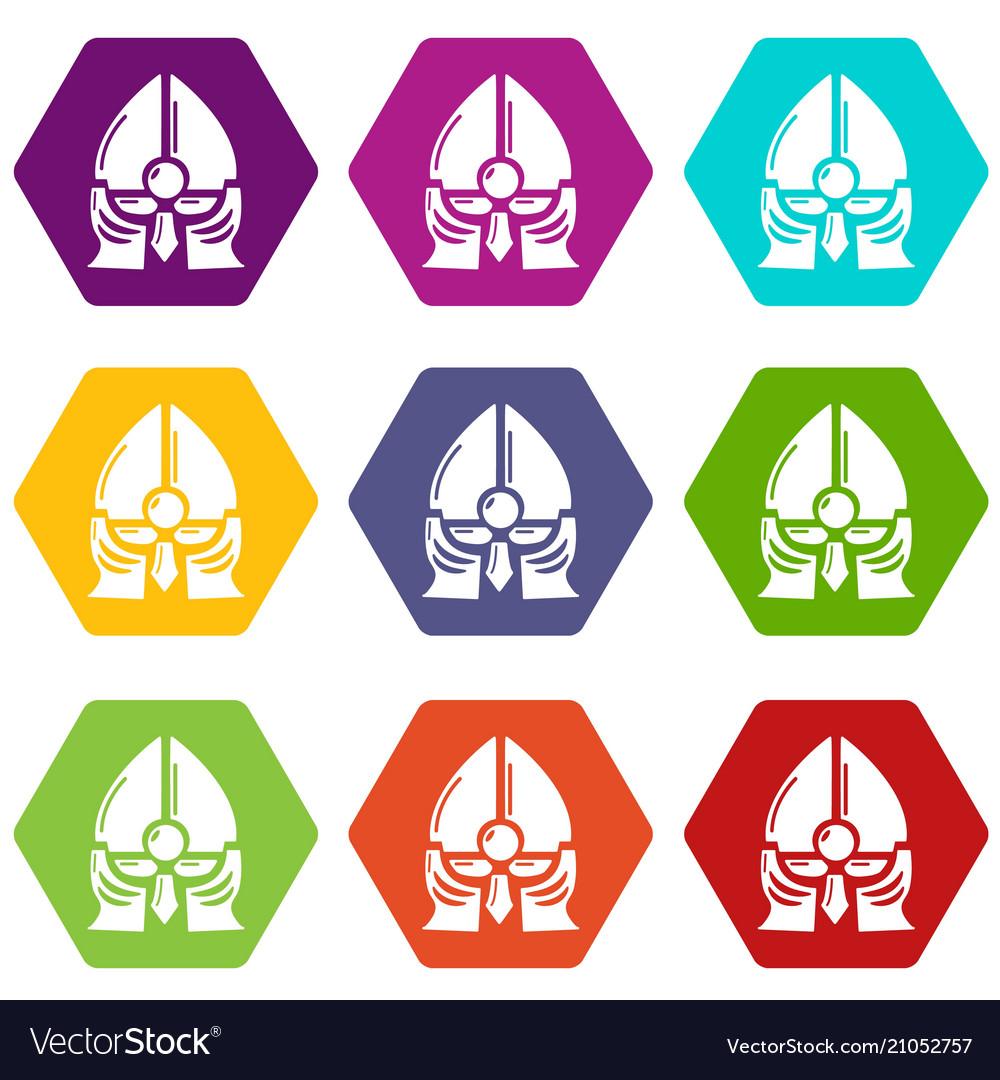 Historical knight helmet icons set 9