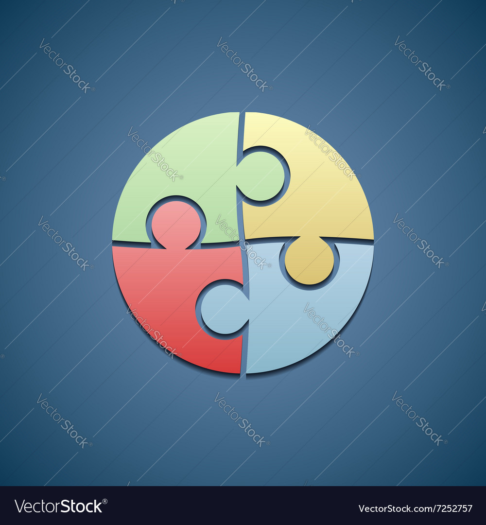 Logo consists of the pieces of the puzzle vector image