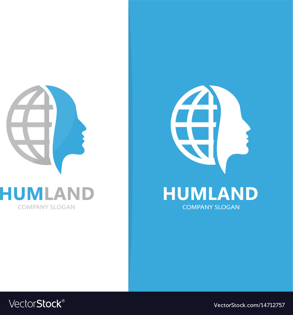 Man and planet logo combination face vector image
