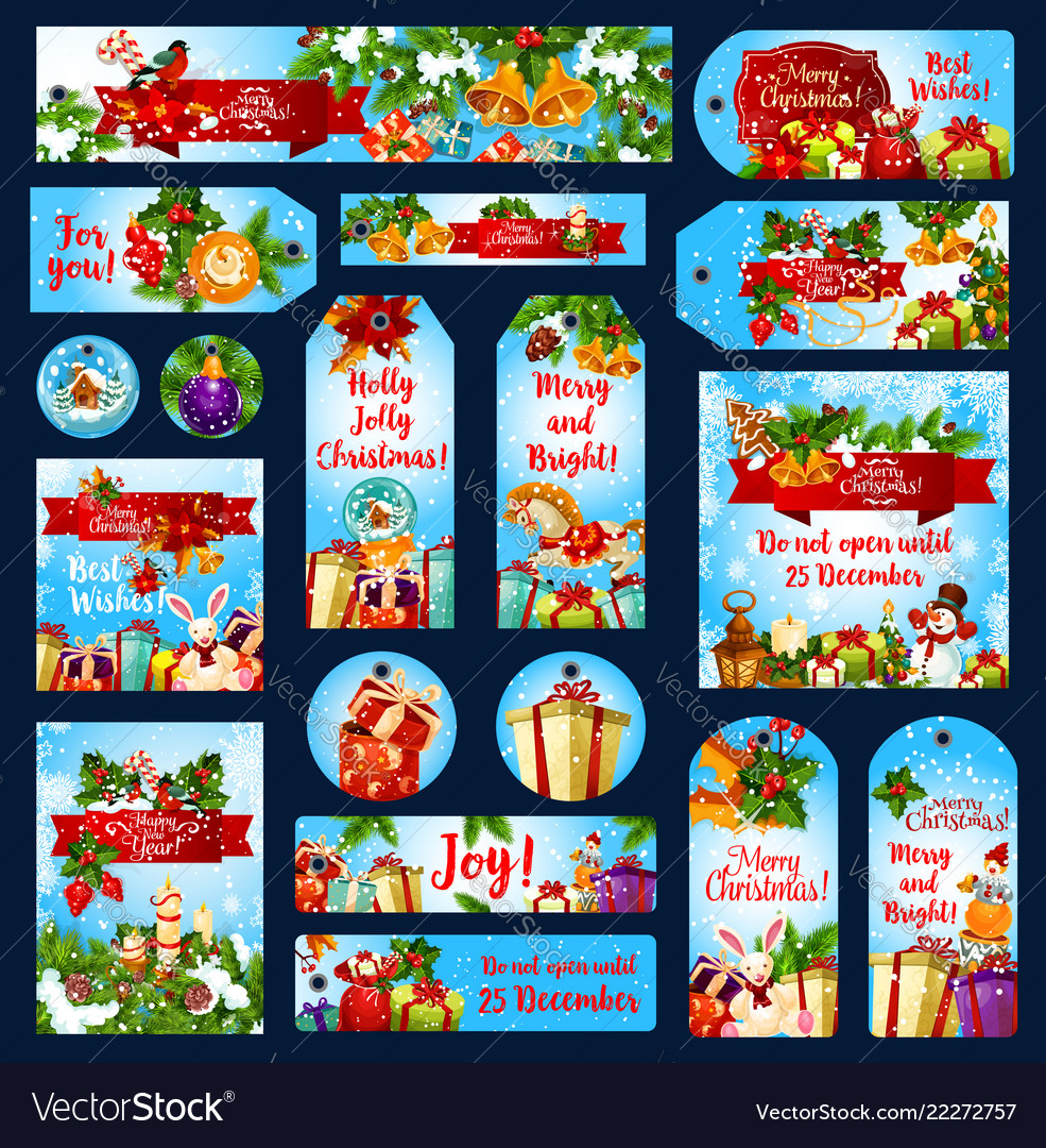 Merry christmas wish greeting banners tags